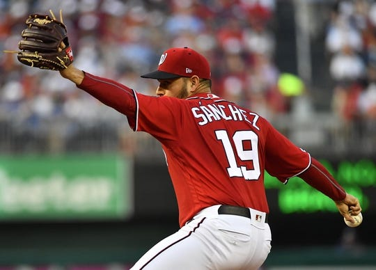 Aug 17, 2019; Washington, DC, USA; Washington Nationals starting pitcher Anibal Sanchez (19) throws to the Milwaukee Brewers during the second inning at Nationals Park. Mandatory Credit: Brad Mills-USA TODAY Sports