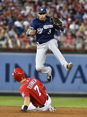 Aug 17, 2019; Washington, DC, USA; Milwaukee Brewers shortstop Orlando Arcia (3) forces out Washington Nationals shortstop Trea Turner (7) and completes throw to first for a double play during the third inning at Nationals Park. Mandatory Credit: Brad Mills-USA TODAY Sports