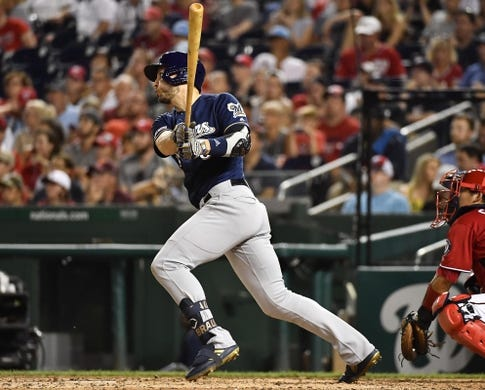 Aug 17, 2019; Washington, DC, USA; Milwaukee Brewers left fielder Ryan Braun (8) hits a solo home run against the Washington Nationals during the fifth inning at Nationals Park. Mandatory Credit: Brad Mills-USA TODAY Sports