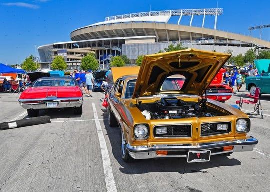 Aug 18, 2019; Kansas City, MO, USA; A general view of classic cars, at a classic car show at Kauffman Stadium. Mandatory Credit: Peter G. Aiken/USA TODAY Sports