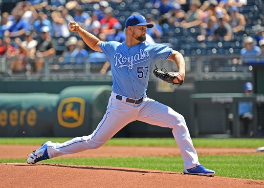 Aug 18, 2019; Kansas City, MO, USA; Kansas City Royals starting pitcher Glenn Sparkman (57) delivers a pitch during the first inning against the New York Mets at Kauffman Stadium. Mandatory Credit: Peter G. Aiken/USA TODAY Sports