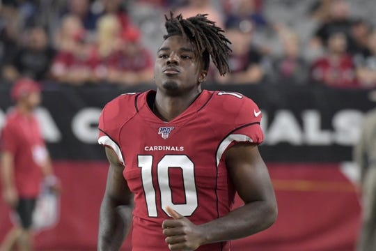 Aug 15, 2019; Glendale, AZ, USA; Arizona Cardinals wide receiver Chad Williams (10) during an NFL football game against the Oakland Raiders. The Raiders defeated the Cardinals 33-26. Mandatory Credit: Kirby Lee-USA TODAY Sports