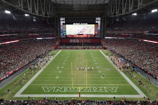 Aug 15, 2019; Glendale, AZ, USA; General overall view of State Farm Stadium during an NFL football game between the Oakland Raiders and the Arizona Cardinals. The Raiders defeated the Cardinals 33-26. Mandatory Credit: Kirby Lee-USA TODAY Sports