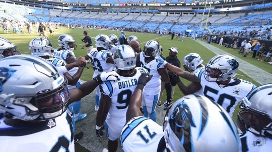 Aug 16, 2019; Charlotte, NC, USA; Carolina Panthers defensive on the field before the game at Bank of America Stadium. Mandatory Credit: Bob Donnan-USA TODAY Sports