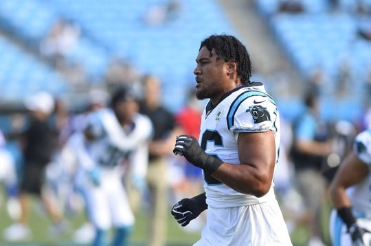 Aug 16, 2019; Charlotte, NC, USA; Carolina Panthers linebacker Sione Teuhema (46) on the field before the game at Bank of America Stadium. Mandatory Credit: Bob Donnan-USA TODAY Sports