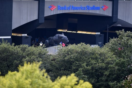 Aug 16, 2019; Charlotte, NC, USA; An exterior view of Bank of America Stadium. Mandatory Credit: Bob Donnan-USA TODAY Sports