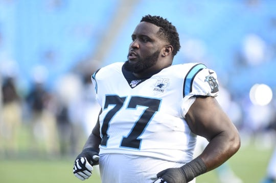 Aug 16, 2019; Charlotte, NC, USA; Carolina Panthers defensive tackle Kyle Love (77) on the field before the game at Bank of America Stadium. Mandatory Credit: Bob Donnan-USA TODAY Sports