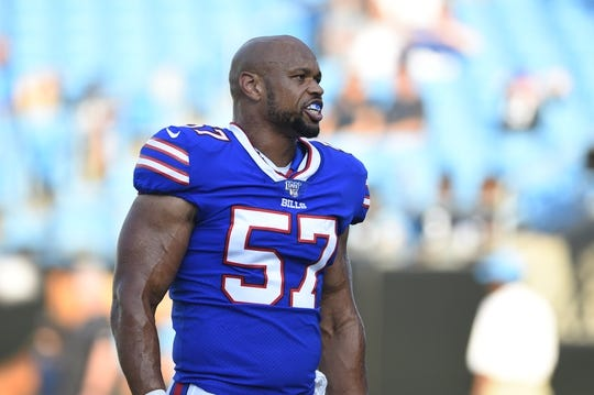 Aug 16, 2019; Charlotte, NC, USA; Buffalo Bills outside linebacker Lorenzo Alexander (57) on the field before the game at Bank of America Stadium. Mandatory Credit: Bob Donnan-USA TODAY Sports