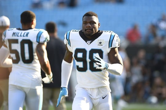 Aug 16, 2019; Charlotte, NC, USA; Carolina Panthers defensive end Marquis Haynes (98) on the field before the game at Bank of America Stadium. Mandatory Credit: Bob Donnan-USA TODAY Sports