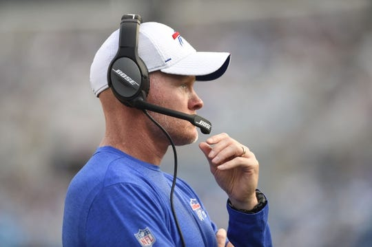 Aug 16, 2019; Charlotte, NC, USA; Buffalo Bills head coach Sean McDermott in the second quarter at Bank of America Stadium. Mandatory Credit: Bob Donnan-USA TODAY Sports