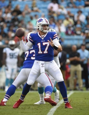 Aug 16, 2019; Charlotte, NC, USA; Buffalo Bills quarterback Josh Allen (17) looks to pass in the second quarter at Bank of America Stadium. Mandatory Credit: Bob Donnan-USA TODAY Sports