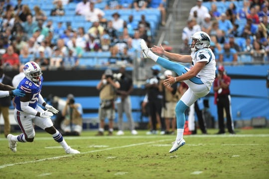 Aug 16, 2019; Charlotte, NC, USA; Carolina Panthers punter Michael Palardy (5) punts in the second quarter at Bank of America Stadium. Mandatory Credit: Bob Donnan-USA TODAY Sports