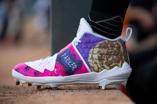 Aug 23, 2019; Minneapolis, MN, USA; Shoes worn by Detroit Tigers relief pitcher Nick Ramirez (63) before the game against Minnesota Twins during an MLB Players' Weekend game at Target Field. Mandatory Credit: Brad Rempel-USA TODAY Sports