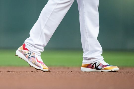 Aug 23, 2019; Minneapolis, MN, USA; Shoes worn by Minnesota Twins shortstop Jorge Polanco (11) in the first inning against Detroit Tigers during an MLB Players' Weekend game at Target Field. Mandatory Credit: Brad Rempel-USA TODAY Sports