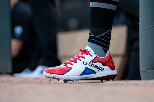 Aug 23, 2019; Minneapolis, MN, USA; Shoes worn by Detroit Tigers third baseman Dawel Lugo  (18) in the first inning against Minnesota Twins during an MLB Players' Weekend game at Target Field. Mandatory Credit: Brad Rempel-USA TODAY Sports