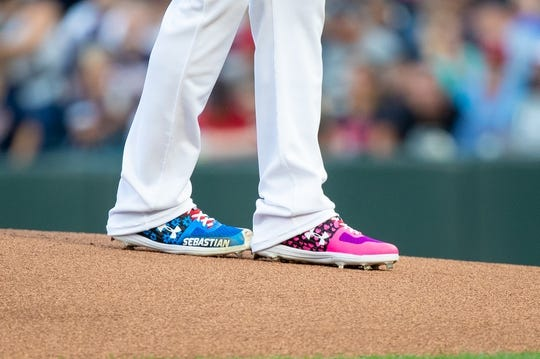 Aug 23, 2019; Minneapolis, MN, USA; Shoes worn by Minnesota Twins starting pitcher Jose Berrios (17) in the first inning against Detroit Tigers during an MLB Players' Weekend game at Target Field. Mandatory Credit: Brad Rempel-USA TODAY Sports