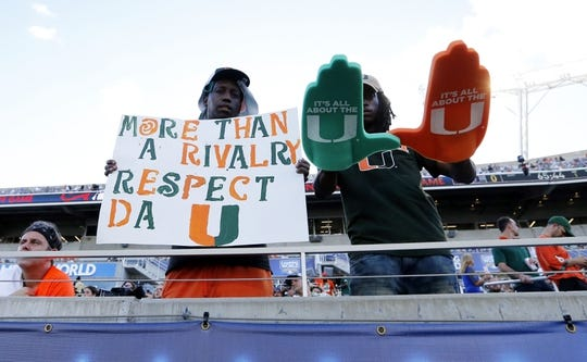 Aug 24, 2019; Orlando, FL, USA; Miami Hurricanes fans  prior to the game against the Florida Gators at Camping World Stadium. Mandatory Credit: Kim Klement-USA TODAY Sports