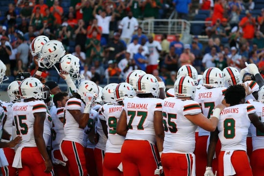 Aug 24, 2019; Orlando, FL, USA; Miami Hurricanes players get hyped up prior to the game against the Florida Gators at Camping World Stadium. Mandatory Credit: Kim Klement-USA TODAY Sports