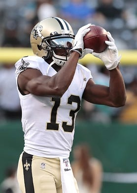 Aug 24, 2019; East Rutherford, NJ, USA; New Orleans Saints wide receiver Michael Thomas (13) warms up before playing against the New York Jets at MetLife Stadium. Mandatory Credit: Vincent Carchietta-USA TODAY Sports