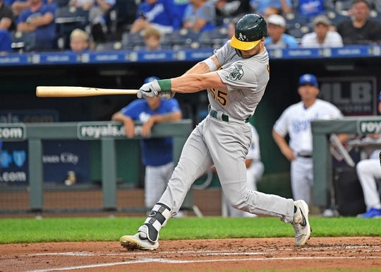 Aug 26, 2019; Kansas City, MO, USA; Oakland Athletics left fielder Seth Brown (65) singles for his first Major League hit during the second inning against the Kansas City Royals at Kauffman Stadium. Mandatory Credit: Peter G. Aiken