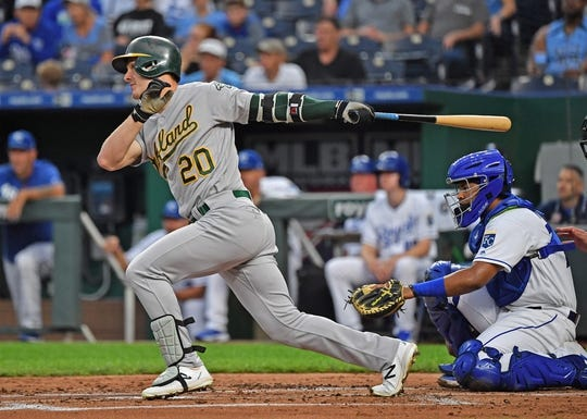 Aug 26, 2019; Kansas City, MO, USA; Oakland Athletics center fielder Mark Canha (20) singles during the second inning against the Kansas City Royals at Kauffman Stadium. Mandatory Credit: Peter G. Aiken
