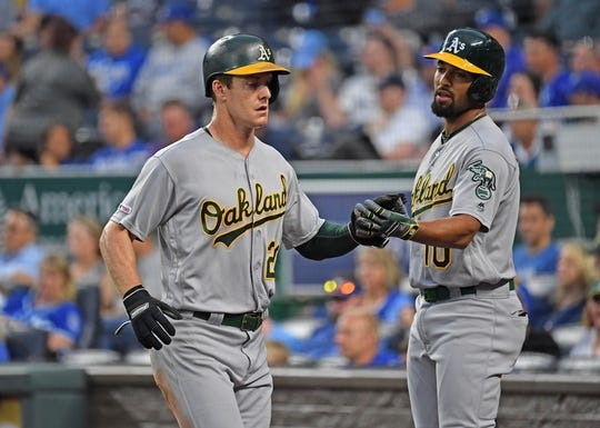 Aug 26, 2019; Kansas City, MO, USA; Oakland Athletics center fielder Mark Canha (20) is greeted by shortstop Marcus Semien (10) after scoring a run during the second inning against the Kansas City Royals at Kauffman Stadium. Mandatory Credit: Peter G. Aiken