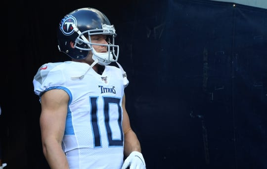 Aug 29, 2019; Chicago, IL, USA; Tennessee Titans wide receiver Adam Humphries (10) takes the field before the game against the Chicago Bears at Soldier Field. Mandatory Credit: Mike DiNovo-USA TODAY Sports