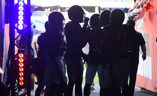 Aug 29, 2019; Chicago, IL, USA; The Chicago Bears special teams unit takes the field before the game against the Tennessee Titans at Soldier Field. Mandatory Credit: Mike DiNovo-USA TODAY Sports