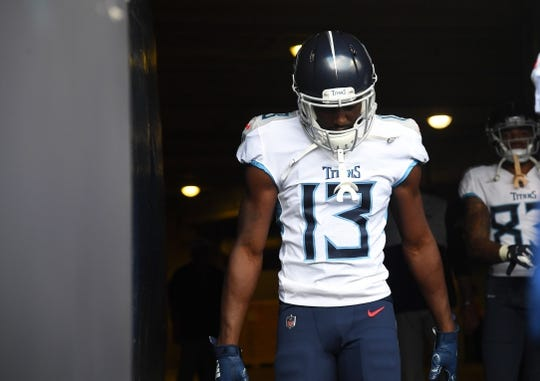 Aug 29, 2019; Chicago, IL, USA; Tennessee Titans wide receiver Taywan Taylor (13) takes the field before the game against the Chicago Bears at Soldier Field. Mandatory Credit: Mike DiNovo-USA TODAY Sports