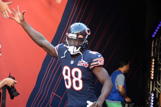 Aug 29, 2019; Chicago, IL, USA; Chicago Bears wide receiver Riley Ridley (88) takes the field before the game against the Tennessee Titans at Soldier Field. Mandatory Credit: Mike DiNovo-USA TODAY Sports