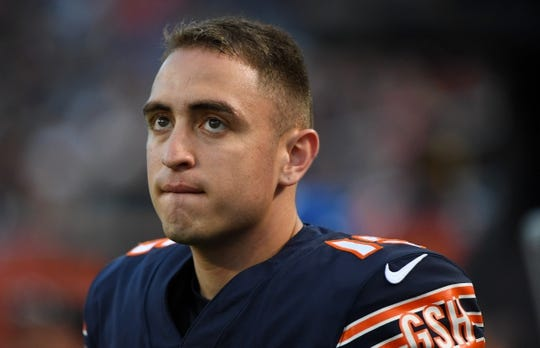 Aug 29, 2019; Chicago, IL, USA; Chicago Bears kicker Eddy Pineiro (15) sitands on the sidelines against the Tennessee Titans during the first half at Soldier Field. Mandatory Credit: Mike DiNovo-USA TODAY Sports