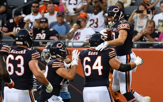 Aug 29, 2019; Chicago, IL, USA; Chicago Bears tight end Jesper Horsted (47) reacts after scoring a touchdown against the Tennessee Titans during the first half at Soldier Field. Mandatory Credit: Mike DiNovo-USA TODAY Sports