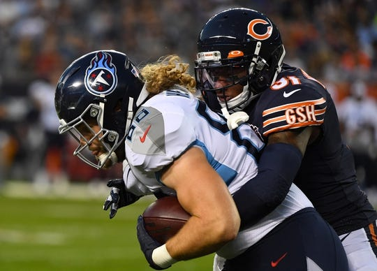Aug 29, 2019; Chicago, IL, USA; Chicago Bears defensive back Jonathon Mincy (31) makes a tackle one Tennessee Titans wide receiver Papi White (80) during the first half at Soldier Field. Mandatory Credit: Mike DiNovo-USA TODAY Sports
