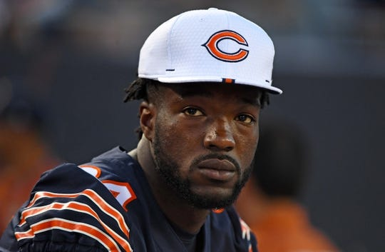 Aug 29, 2019; Chicago, IL, USA; Chicago Bears outside linebacker Leonard Floyd (94) sits on the bench during the first half against the Tennessee Titans at Soldier Field. Mandatory Credit: Mike DiNovo-USA TODAY Sports