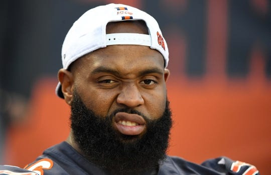 Aug 29, 2019; Chicago, IL, USA; Chicago Bears defensive tackle Akiem Hicks (96) sits on the bench during the first half against the Tennessee Titans at Soldier Field. Mandatory Credit: Mike DiNovo-USA TODAY Sports
