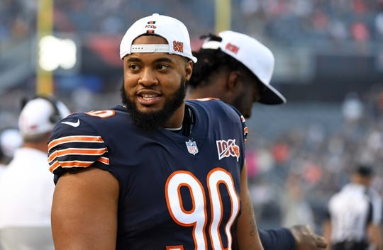Aug 29, 2019; Chicago, IL, USA; Chicago Bears defensive end Jonathan Bullard (90) sits on the bench during the first half against the Tennessee Titans at Soldier Field. Mandatory Credit: Mike DiNovo-USA TODAY Sports