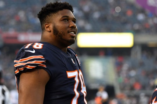 Aug 29, 2019; Chicago, IL, USA; Chicago Bears defensive end Jalen Dalton (78) stands along the bench during the first half against the Tennessee Titans at Soldier Field. Mandatory Credit: Mike DiNovo-USA TODAY Sports