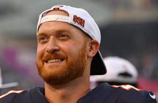 Aug 29, 2019; Chicago, IL, USA; Chicago Bears long snapper Patrick Scales (48) sits on the bench during the first half against the Tennessee Titans at Soldier Field. Mandatory Credit: Mike DiNovo-USA TODAY Sports