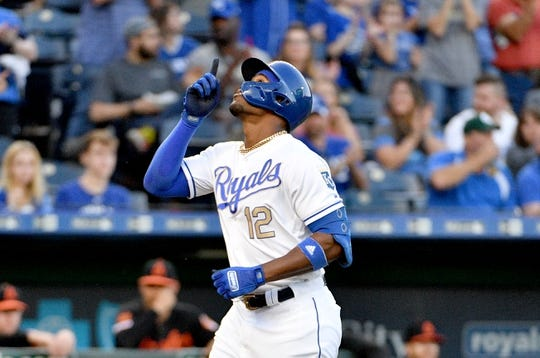 Aug 30, 2019; Kansas City, MO, USA; Kansas City Royals designated hitter Jorge Soler (12) celebrates while running the bases after hitting a solo home run in the first inning against the Baltimore Orioles at Kauffman Stadium. Mandatory Credit: Denny Medley-USA TODAY Sports