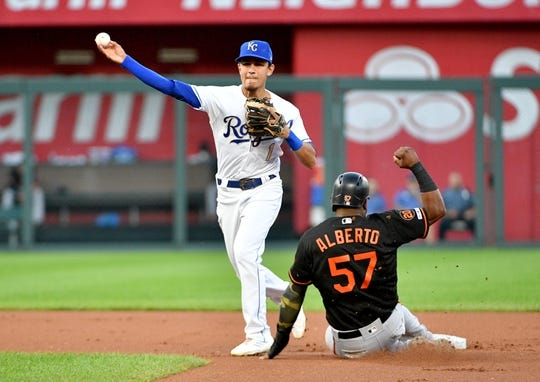 Aug 30, 2019; Kansas City, MO, USA; Kansas City Royals second baseman Nicky Lopez (1) gets the force out on Baltimore Orioles third baseman Hanser Alberto (57) at second base and throws to first in the first inning at Kauffman Stadium. Mandatory Credit: Denny Medley-USA TODAY Sports