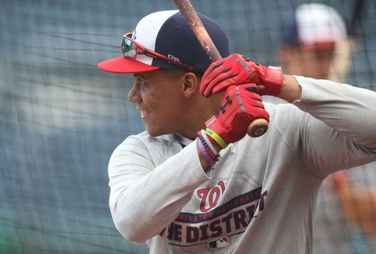 Aug 19, 2019; Pittsburgh, PA, USA;  Washington Nationals left fielder Juan Soto (22) in the batting cage before playing the Pittsburgh Pirates at PNC Park. Washington shutout the Pirates 13-0. Mandatory Credit: Charles LeClaire-USA TODAY Sports
