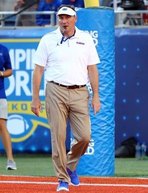 Aug 24, 2019; Orlando, FL, USA; Florida Gators head coach Dan Mullen prior to the game at Camping World Stadium. Mandatory Credit: Kim Klement-USA TODAY Sports