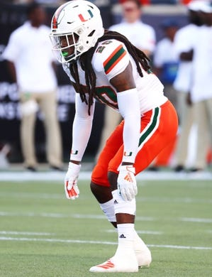 Aug 24, 2019; Orlando, FL, USA; Miami Hurricanes defensive back Robert Knowles (20) works out prior to the game at Camping World Stadium. Mandatory Credit: Kim Klement-USA TODAY Sports
