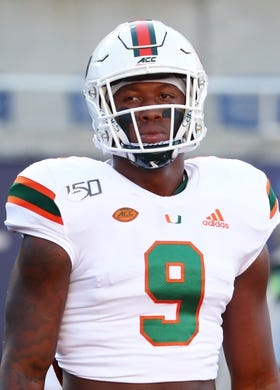 Aug 24, 2019; Orlando, FL, USA; Miami Hurricanes tight end Brevin Jordan (9) works out prior to the game at Camping World Stadium. Mandatory Credit: Kim Klement-USA TODAY Sports