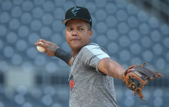 Sep 3, 2019; Pittsburgh, PA, USA;  Miami Marlins second baseman Starlin Castro (13) plays catch on the field before the game against the Pittsburgh Pirates at PNC Park. Mandatory Credit: Charles LeClaire-USA TODAY Sports