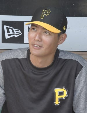 Sep 3, 2019; Pittsburgh, PA, USA;  Newly acquired Pittsburgh Pirates pitcher Wei-Chung Wang (78) in the dugout prior to playing the Miami Marlins at PNC Park. Mandatory Credit: Charles LeClaire-USA TODAY Sports