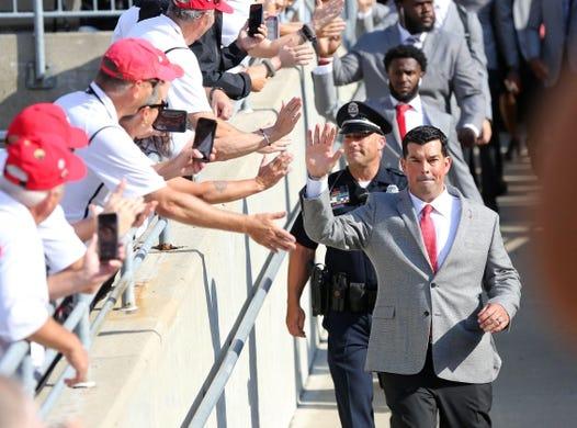 Sep 7, 2019; Columbus, OH, USA; Ohio State Buckeyes head coach Ryan Day (right) greets fans prior to the game against the Cincinnati Bearcats at Ohio Stadium. Mandatory Credit: Joe Maiorana-USA TODAY Sports