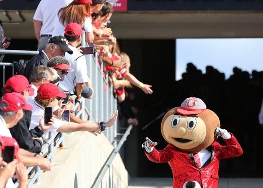 Sep 7, 2019; Columbus, OH, USA; Ohio State Brutus Buckeye greets fans prior to the game against the Cincinnati Bearcats at Ohio Stadium. Mandatory Credit: Joe Maiorana-USA TODAY Sports