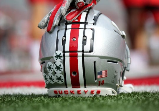 Sep 7, 2019; Columbus, OH, USA; Ohio State Buckeyes helmet before the game against the Cincinnati Bearcats at Ohio Stadium. Mandatory Credit: Joe Maiorana-USA TODAY Sports