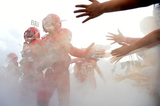 Sep 7, 2019; Boca Raton, FL, USA; The Florida Atlantic Owls take the field prior to the game against the UCF Knights at FAU Football Stadium. Mandatory Credit: Jasen Vinlove-USA TODAY Sports